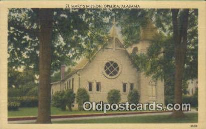St Mary's Mission - Opelika, Alabama AL Postcard