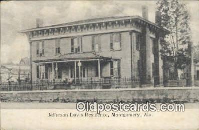 Jefferson Davis Residence - Montgomery, Alabama AL Postcard