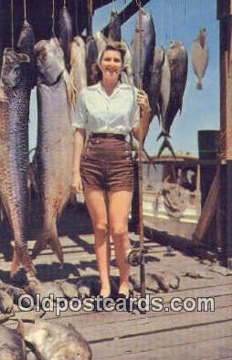 Dauphin Island, Fishing - Montgomery, Alabama AL Postcard