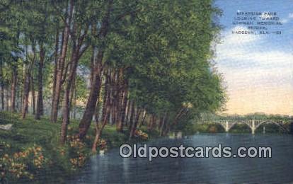 Riverside Park, Etowah Memorial Bridge - Gadsden, Alabama AL Postcard