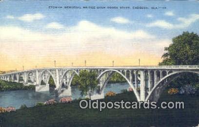 Etowah Memorial Bridge, Coosa River - Gadsden, Alabama AL Postcard