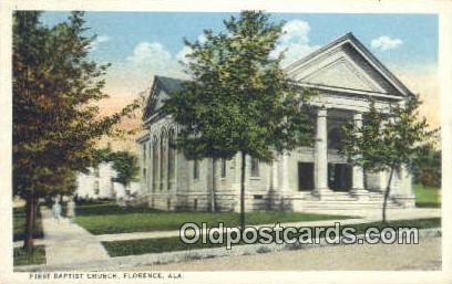 First Baptist Church - Florence, Alabama AL Postcard