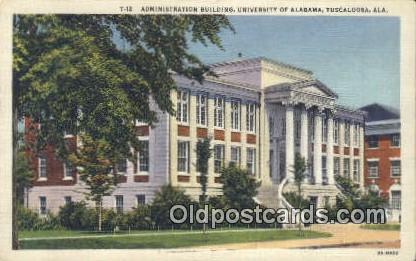 Admin Building, University of Alabama - Tuscaloosa Postcard