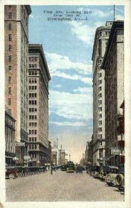 First Ave. - Birmingham, Alabama AL Postcard