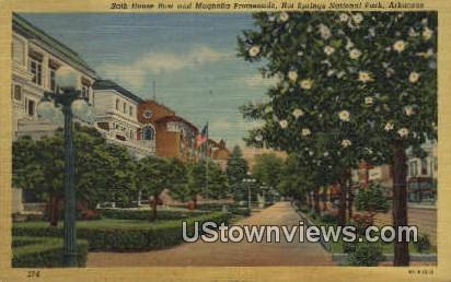Bath House Row, Magnolia Promenade - Hot Springs National Park, Arkansas AR Postcard