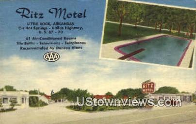 Ritz Motel - Little Rock, Arkansas AR Postcard