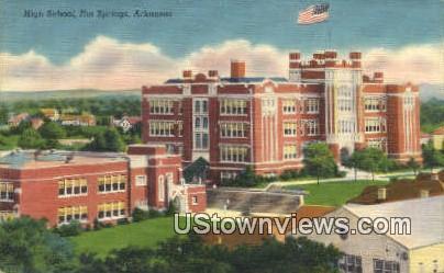 High School, Hot Springs - Arkansas AR Postcard