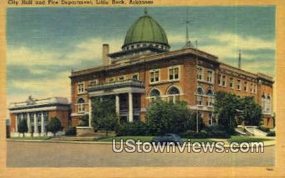 City Hall & Fire Dept - Little Rock, Arkansas AR Postcard