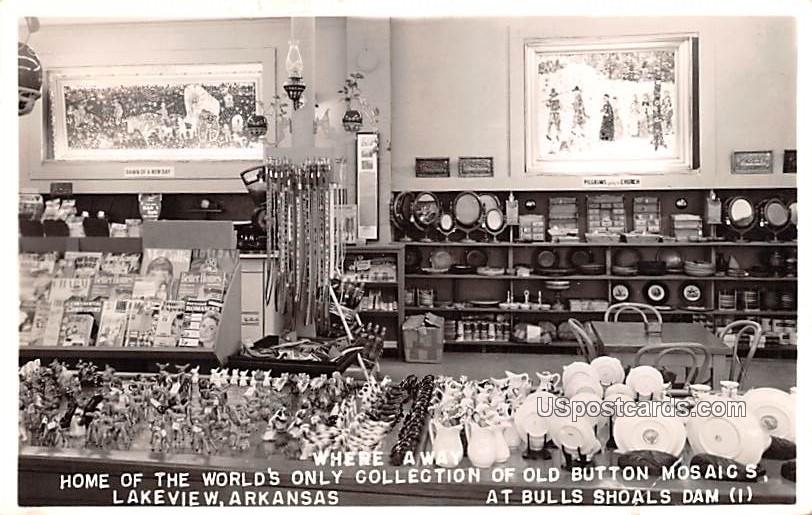 Home of the World's Only Collection of Old Button Mosaic's - Lakeview, Arkansas AR Postcard