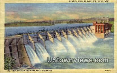 Remmel Dam & Electric Power Plant - Hot Springs National Park, Arkansas AR Postcard