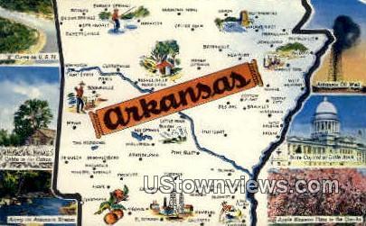 Greetings from, Ark,   ;   Greetings from, Arkansas Postcard