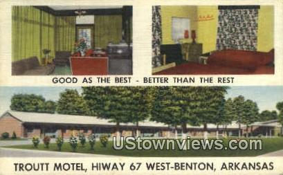 Troutt Motel - Benton, Arkansas AR Postcard