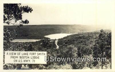 Real Photo - Boston Lodge - Lake Fort Smith, Arkansas AR Postcard