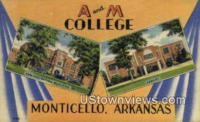 A & M College - Monticello, Arkansas AR Postcard