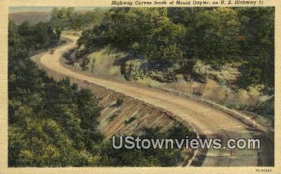 Highway Curves - Mt Gayler, Arkansas AR Postcard