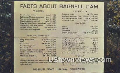 Facts about Bagnell Dam - Arkansas AR Postcard