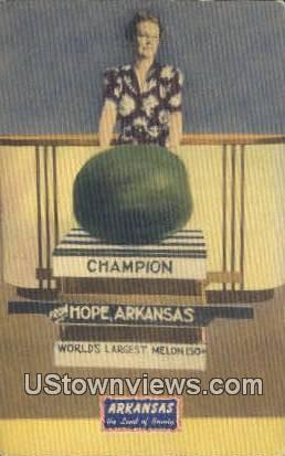Champion, Largest Melon - Hope, Arkansas AR Postcard
