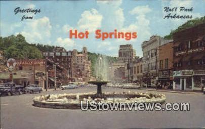 Crystal Water Fountain - Hot Springs National Park, Arkansas AR Postcard