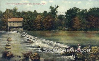 Dam on Ouachita River - Hot Springs, Arkansas AR Postcard