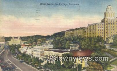 Street Scene - Hot Springs, Arkansas AR Postcard