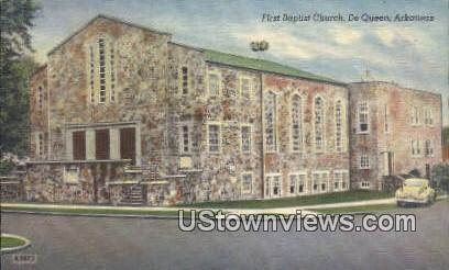 First Baptist Church - DeQueen, Arkansas AR Postcard