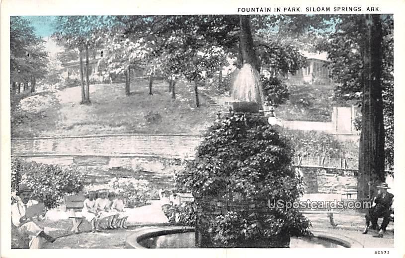 Fountain in Park - Siloam Springs, Arkansas AR Postcard