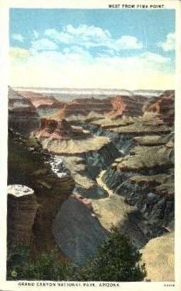 West from Pima Point - Grand Canyon National Park, Arizona AZ Postcard