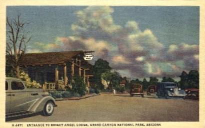 Entrance to Bright Angel Trail - Grand Canyon National Park, Arizona AZ Postcard