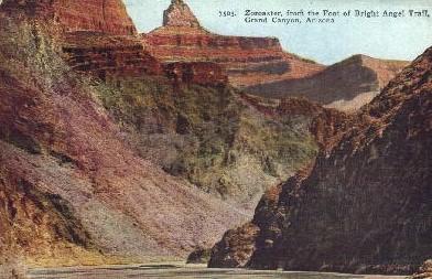 Zoroaster from the foot of Bright Angel Trail - Grand Canyon National Park, Arizona AZ Postcard