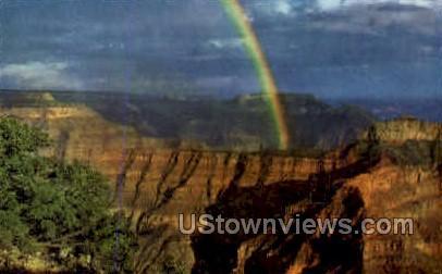 Rainbow over Grand Canyon - Grand Canyon National Park, Arizona AZ Postcard
