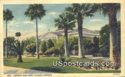 Library & Park - Tucson, Arizona AZ Postcard