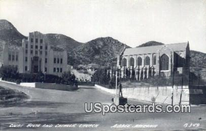 Real Photo Court House & Catholic Church - Bisbee, Arizona AZ Postcard