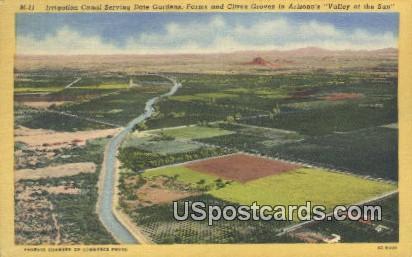 Irrigation Canal, Date Gardens - Valley of the Sun, Arizona AZ Postcard