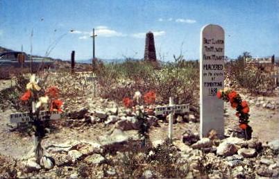 Graves of Billy Clanton, Tom and Frank Mclowery - Tombstone, Arizona AZ Postcard