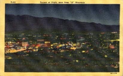 At Night - Tucson, Arizona AZ Postcard