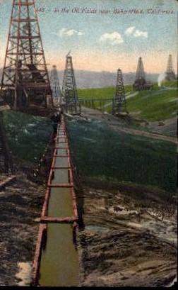 In The Oil Fields - Bakersfield, California CA Postcard