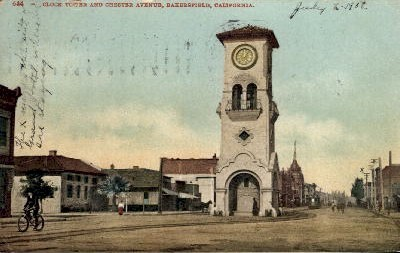 Clock Tower and Chester Avenue - Bakersfield, California CA Postcard