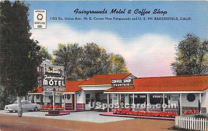 Fairgrounds Motel & Coffee Shop - Bakersfield, California CA Postcard