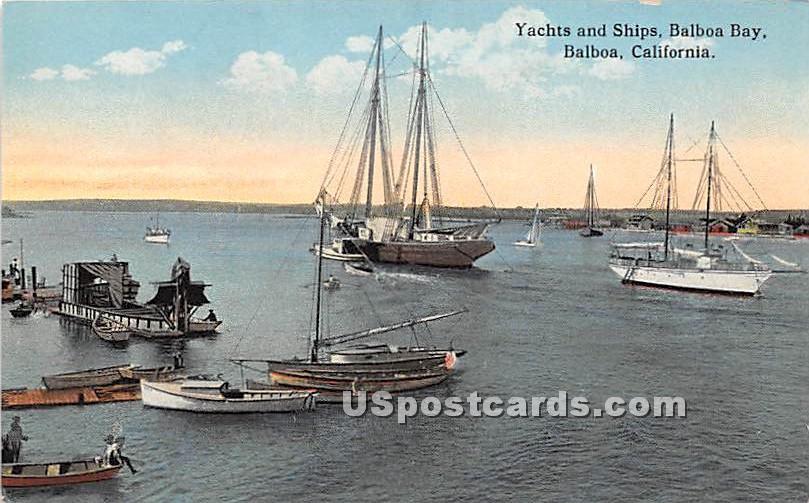 Yachts & Ships, Balboa Bay - California CA Postcard