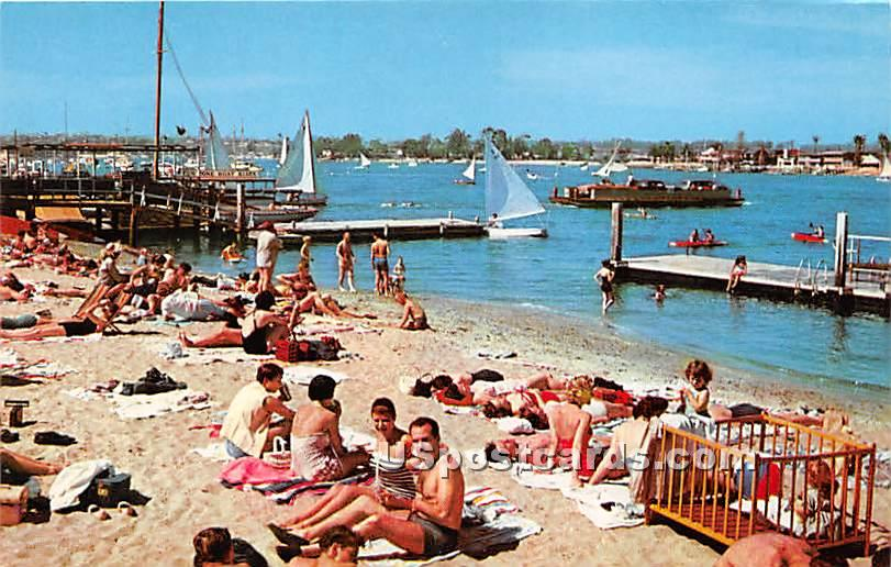 Beach & Bay - Balboa, California CA Postcard
