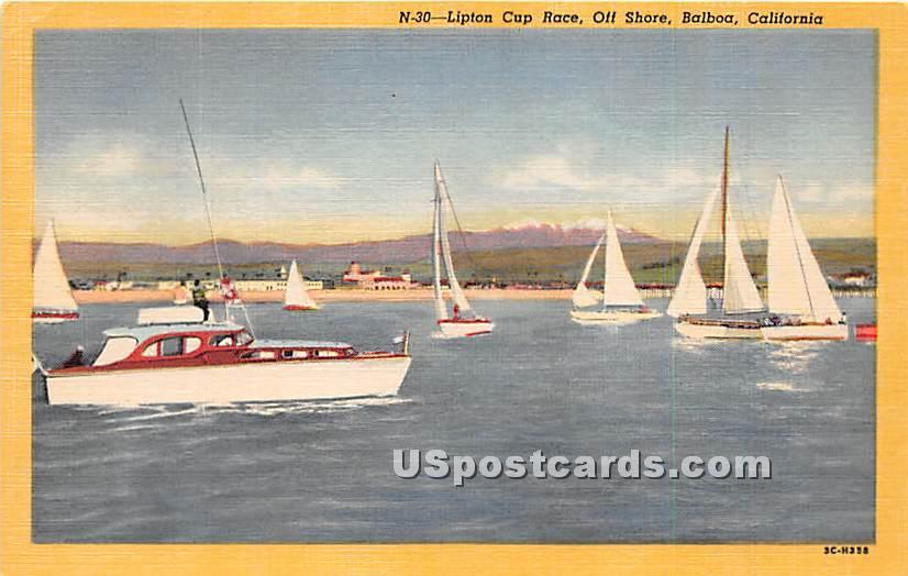 Lipton Cup Race, Off Shore - Balboa, California CA Postcard