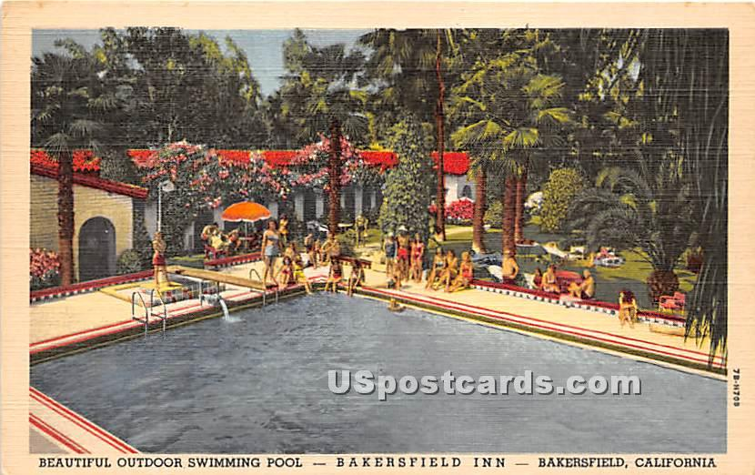Outdoor Swimming Pool, Bakersfield Inn - California CA Postcard
