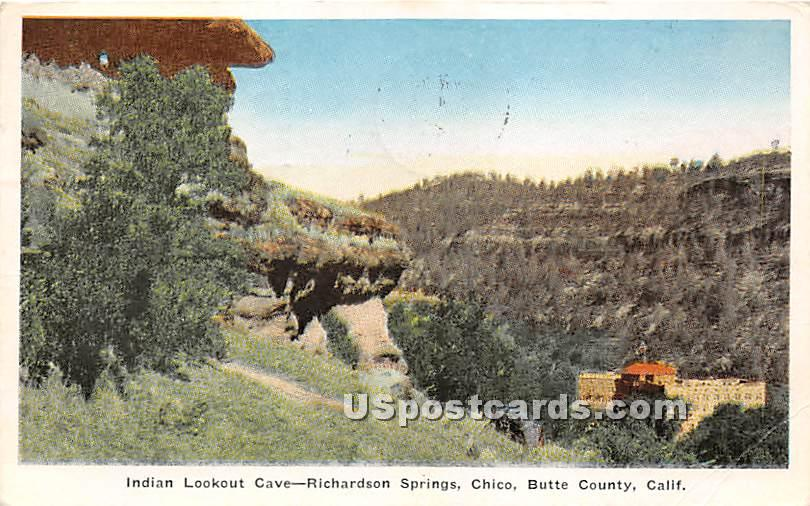 Indian Lookout Cave, Richardson Springs - Butte County, California CA Postcard