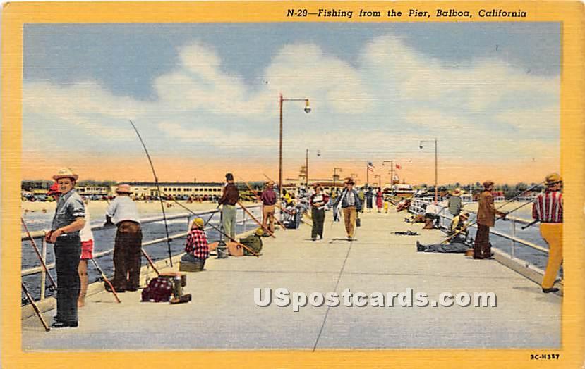 Pier - Balboa, California CA Postcard