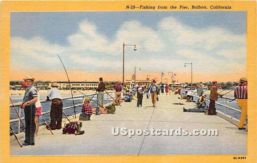 Fishing from the Pier - Balboa, California CA Postcard