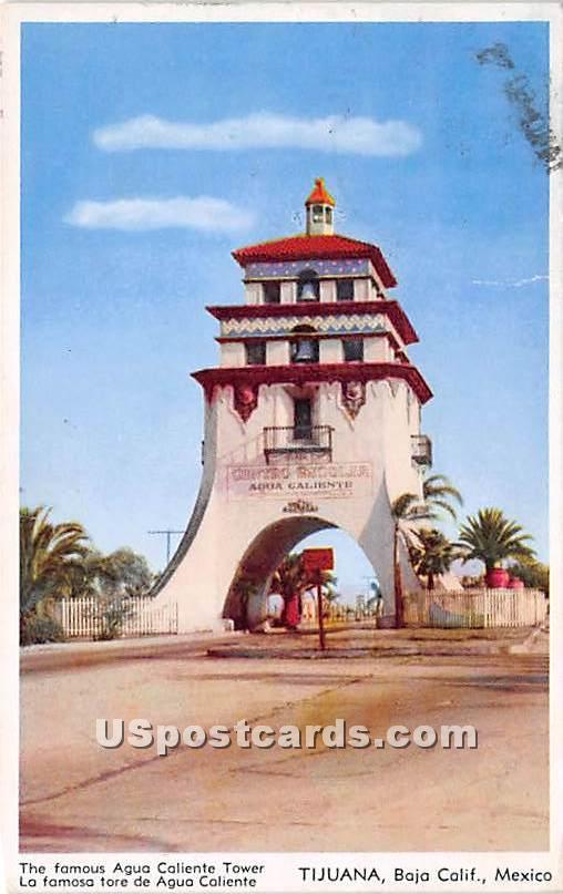 Agua Caliente Tower - Baja, California CA Postcard