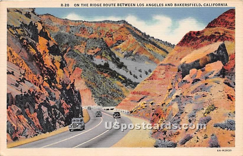 Ridge Route - Bakersfield, California CA Postcard