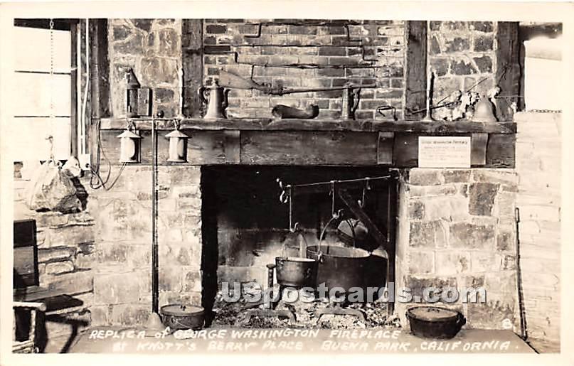 Replica of George Washington Fireplace - Buena Park, California CA Postcard