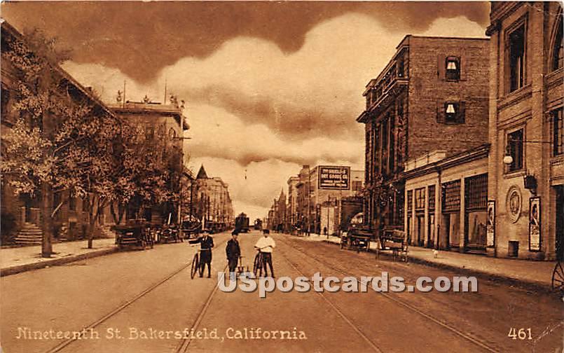 Nineteenth Street - Bakersfield, California CA Postcard