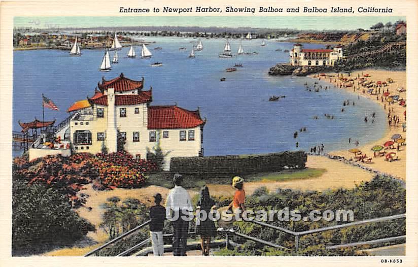 Newport Harbor - Balboa Island, California CA Postcard